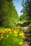 La fille court le long du chemin forestier, qui cultivent des pissenlits Photographie stock libre de droits