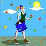 La fille d'école dans l'uniforme avec des queues de cheval allant à l'école le long de la route avec le marple part Illustration  Photo stock