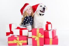 La fille d'enfant et le chien blanc s'asseyent avec des cadeaux Images stock