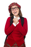 La fille dans l'habillement écossais de tartan d'isolement sur le blanc Photos stock