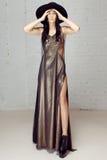 La fille dans la robe d'or et le chapeau noir Images libres de droits