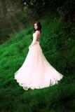 La fille dans la robe en pastel transparente Photographie stock libre de droits