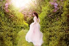 La fille dans la robe en pastel transparente Image libre de droits