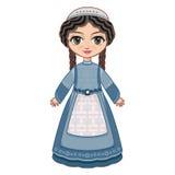 La fille dans la robe orthodoxe de juifs illustration stock
