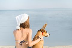 La fille dans le bikini et le chien au bord de la mer pour Noël vacation Photo stock