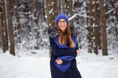 La fille dans le bleu a tricoté l'écharpe avec le chapeau dans la forêt d'hiver Photos stock
