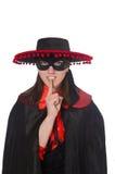 La fille dans le costume noir et rouge de carnaval d'isolement Photographie stock libre de droits