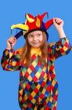 La fille dans un procès du clown Photos libres de droits