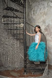 La fille dans une belle robe Photo stock
