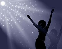 La fille danse dans la lumière magique illustration de vecteur