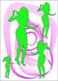 La fille danse sur le fond violet illustration libre de droits