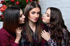 La fille de la brune trois veulent embrasser images stock