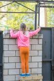La fille de cinq ans montée sur la barrière de brique et le recherche Photos libres de droits