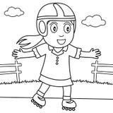 La fille de coloration avec font du roller en parc Images libres de droits