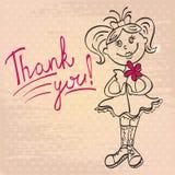 La fille de dessin avec la fleur dit vous remercient Photos stock