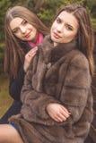La fille de deux amis portent les manteaux chauds d'hiver Photo libre de droits