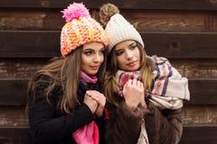 La fille de deux amis portent les vêtements chauds d'hiver Photo libre de droits