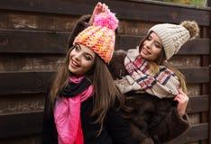 La fille de deux amis portent les vêtements chauds d'hiver Photos libres de droits