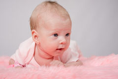 La fille de deux mois se trouvant sur son estomac sa tête haut Photographie stock