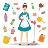 La fille de femme au foyer et l'icône à la maison d'équipement de nettoyage dans le style plat dirigent l'illustration Photographie stock