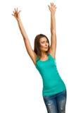 La fille de femme a soulevé ses mains vers le haut de joie heureuse d'isolement Photos libres de droits