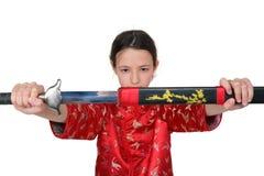 La fille de fu de Kung sort l'épée Photos stock