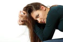 La fille de l'adolescence dans la dépression dure a pleuré seul Photos libres de droits