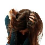 La fille de l'adolescence dans la dépression dure a pleuré seul Image stock