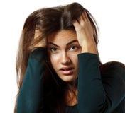 La fille de l'adolescence de dépression a pleuré seul Image stock