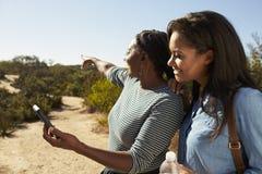 La fille de mère et d'adulte dirigent avec le téléphone portable sur la promenade Image stock