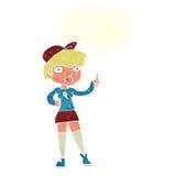 la fille de patineur de bande dessinée donnant des pouces lèvent le symbole avec la bulle de la parole Image stock