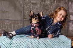 La fille de petit enfant se trouve avec le chien de chuhuahua Image libre de droits