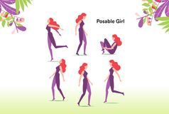 La fille de Posable, la posant en tant que vous veulent illustration libre de droits
