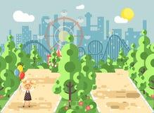 La fille de promenade de balade de promenade d'illustration de vecteur, écolier, jour de l'enfant s, tient des ballons dans des m Photo stock