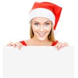 La fille de Santa affiche un espace blanc Images stock