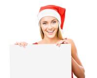 La fille de Santa affiche un espace blanc Image stock