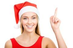 La fille de Santa affiche un espace blanc Images libres de droits
