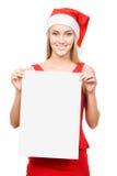La fille de Santa affiche un espace blanc Photo libre de droits