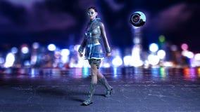 La fille de la science fiction avec le bourdon de vol utilisant l'équipement de pointe dans la rue futuriste de ville la nuit, la Illustration de Vecteur