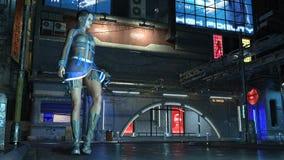 La fille de la science fiction utilisant l'équipement de pointe dans la rue futuriste de ville la nuit, la scène de la science-fi Illustration Libre de Droits