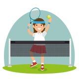La fille de tennis sautent le filet de cour illustration de vecteur