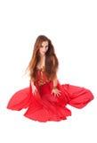 La fille de tentation aiment une fleur rouge Photographie stock libre de droits
