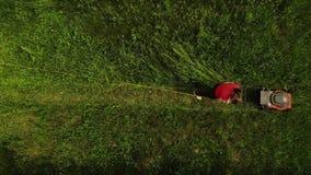 La fille de tondeuse à gazon de vue aérienne ou de coupeur d'herbe fauche la vue supérieure d'herbe clips vidéos