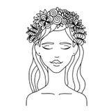 La fille de zentangl d'illustration de vecteur avec des fleurs sur elle entendent Anti-effort de livre de coloriage pour des adul Photographie stock