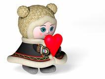 La fille donne un coeur, Photographie stock