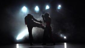 La fille donne un coup de pied le type qu'ils sont boxe d'entraînement pour kickboxing Fumez le fond Silhouette Mouvement lent banque de vidéos