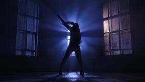 La fille douée danse dans le clair de lune dans le mouvement lent Silhouette clips vidéos