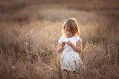 La fille drôle danse dans le domaine avec du seigle au coucher du soleil Photos stock