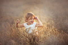 La fille drôle danse dans le domaine avec du seigle au coucher du soleil Photographie stock