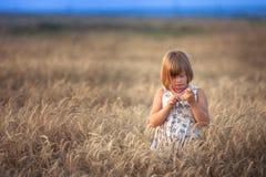 La fille drôle danse dans le domaine avec du seigle au coucher du soleil Images libres de droits
